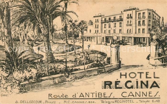 AK / Ansichtskarte Cannes_Alpes Maritimes Hotel Regina Zeichnung Kuenstlerkarte Cannes Alpes Maritimes