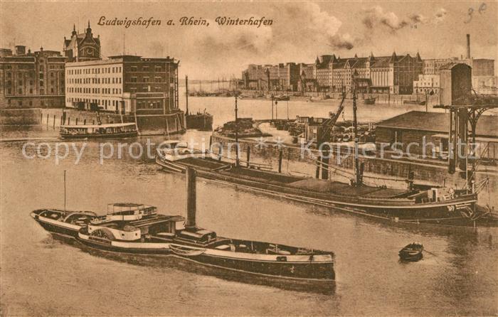 AK / Ansichtskarte Ludwigshafen_Rhein Winterhafen Ludwigshafen Rhein