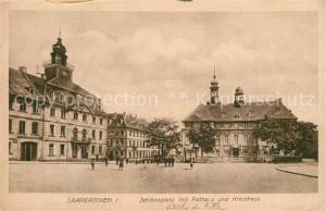 AK / Ansichtskarte Saarbruecken Schlossplatz Rathaus Kreishaus Saarbruecken