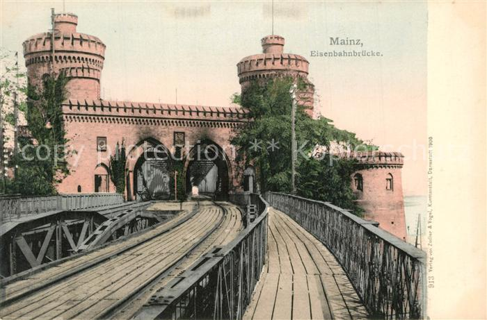 AK / Ansichtskarte Mainz_Rhein Eisenbahnbruecke Mainz Rhein