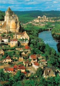 AK / Ansichtskarte Castelnaud la Chapelle Vue generale et le chateau de Beynac en arriere plan Castelnaud la Chapelle