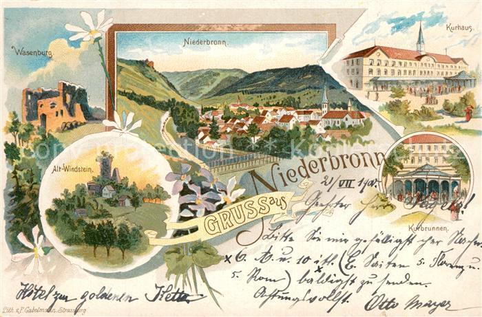 Ak Ansichtskarte Niederbronn Les Bains Alt Windstein Wasenburg Kurhaus Niederbronn Les Bains