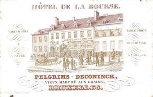 AK / Ansichtskarte Bruxelles_Bruessel Hotel de la Bourse Carte Visite  Bruxelles_Bruessel