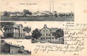 AK / Ansichtskarte Breslau_Niederschlesien Ober Leschen Cellulose Papierfabrik Post Bahnhof Gasthof Deutscher Kaiser Breslau_Niederschlesien