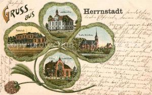 AK / Ansichtskarte Herrnstadt_Niederschlesien Bahnhof Landkirche Villa Guenther Herrnstadt