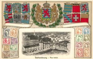 AK / Ansichtskarte Bettembourg Panorama Wappen Briefmarken Bettembourg