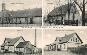 AK / Ansichtskarte Kienitz Kirche Schule Forsthaus Molkerei Gasthaus Otto Schwanz Kienitz