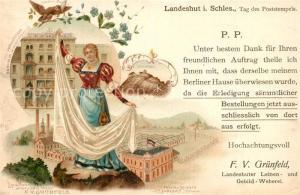 AK / Ansichtskarte Landeshut_Schlesien Verkaufshaus Landeshuter Leinen und Gebild Weberei Landeshut_Schlesien