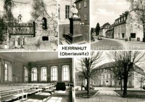 AK / Ansichtskarte Herrnhut Kirchensaal Glockenstuhl Zinzendorfdenkmal Comenisusstrasse Foerderungszentrum Herrnhut