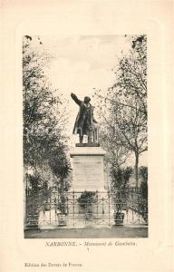 AK / Ansichtskarte Narbonne_Aude Monument de Gambetta Narbonne Aude