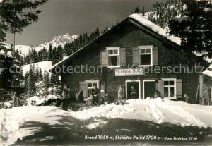 AK / Ansichtskarte Brand_Bludenz Skihuette Palued Wintersportplatz Alpen Brand Bludenz