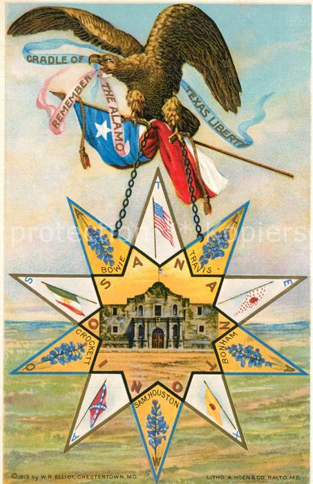 AK / Ansichtskarte Adler Alamo Cradle of Texas Liberty San Antonio Fahnen   0