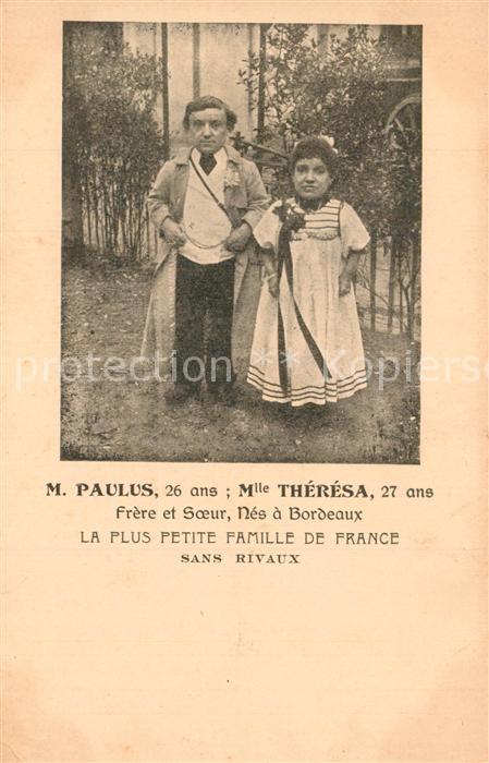 AK / Ansichtskarte Besonderheiten Liliputaner Monsieur Paulus Mademoiselle Theresa Bordeaux  Besonderheiten 0