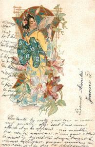 AK / Ansichtskarte Geisha Kimono F?cher Litho  Geisha