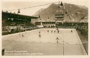 AK / Ansichtskarte Wintersport Eishockey Garmisch Partenkirchen Olympia Kunsteis Stadion Wank