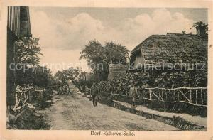 AK / Ansichtskarte Kukowo_Sello_Stolp_Pommern Dorfstrasse Soldaten