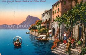 AK / Ansichtskarte Gandria_Lago_di_Lugano del Pittore Usadel Kuenstlerkarte Gandria_Lago_di_Lugano