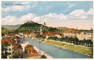 AK / Ansichtskarte Graz_Steiermark Panorama Blick ueber die Mur zum Schlossberg Graz_Steiermark