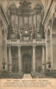 AK / Ansichtskarte Kirchenorgel Paris Eglise St. Sulpice