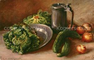 AK / Ansichtskarte Verlag_Tucks_Oilette_Nr. 848 Fritz Hildebrandt Stillleben Gem?se Salat Gurken Zwiebel