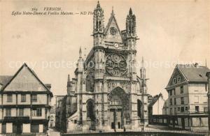 AK / Ansichtskarte Vernon_Eure Eglise Notre Dame et vieilles maisons Vernon Eure