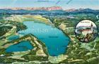 AK / Ansichtskarte Ammersee und Umgebung mit Kloster Andechs Alpen aus der Vogelperspektive Kuenstlerkarte Ammersee