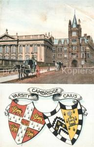AK / Ansichtskarte Cambridge_Cambridgeshire Gebaeude Pferdedroschke Wappen Varsity Caius Cambridge Cambridgeshire