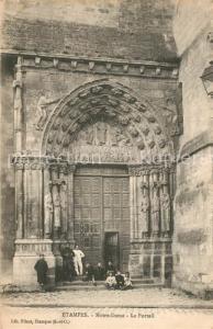 AK / Ansichtskarte Etampes Notre Dame Le Portail Etampes