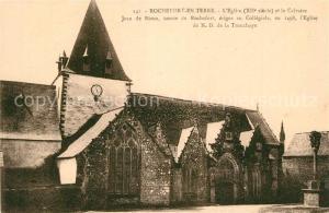 AK / Ansichtskarte Rochefort en Terre Eglise et le Calvaire Rochefort en Terre