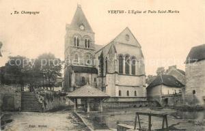 AK / Ansichtskarte Vertus Eglise et Puits Saint Martin Vertus
