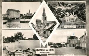 AK / Ansichtskarte Chateauneuf sur Sarthe Moulin Eglise Chateau Ecluse Barrage Hotel de la Sarthe Chateauneuf sur Sarthe