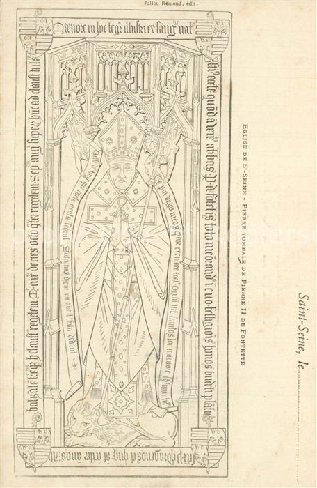 AK / Ansichtskarte Saint Seine l_Abbaye Pierre Tombale de Pierre II de Fontette Dessin Kuenstlerkarte Saint Seine l Abbaye 0