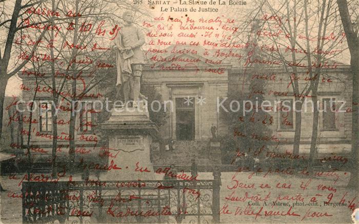 AK / Ansichtskarte Sarlat la Caneda Palais de Justice Statue de la Boetie Sarlat la Caneda 0