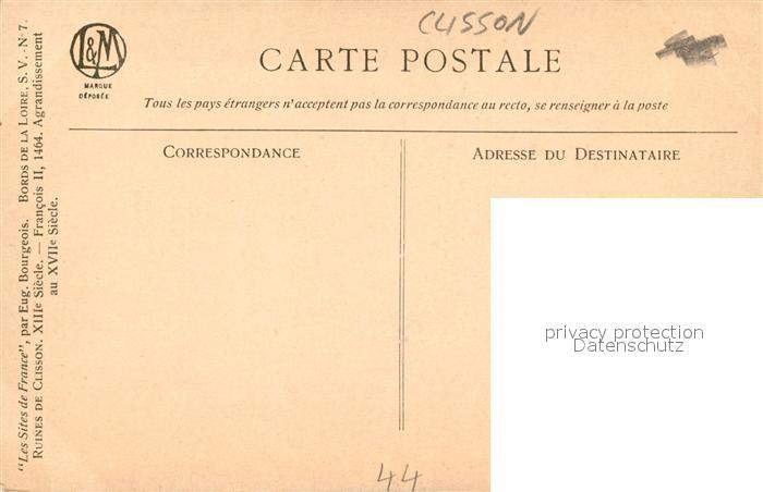 AK / Ansichtskarte Clisson Chateau Les Sites de France par Eug. Bourgeois Dessin Kuenstlerkarte Serie V No. 7 Clisson 1