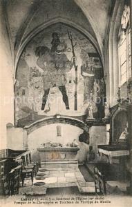 AK / Ansichtskarte Lassay sur Croisne Interieur de l Eglise Fresque de Saint Christophe Tombeau de Philippe du Moulin Lassay sur Croisne