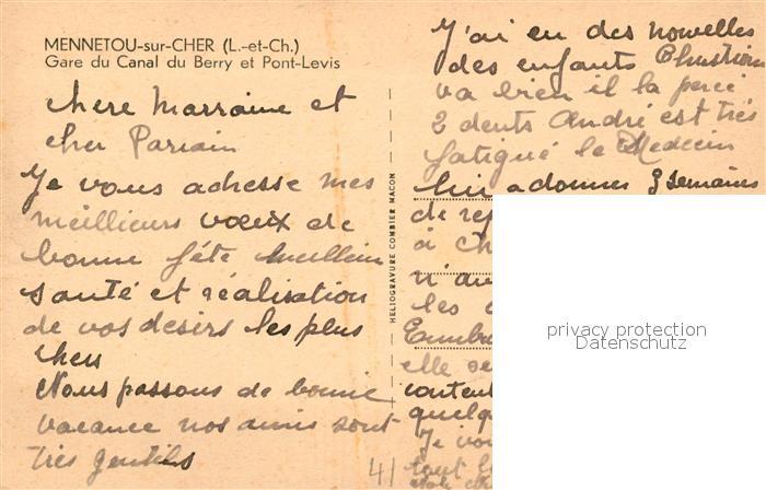 AK / Ansichtskarte Mennetou sur Cher Gare du Canal du Berry et Pont Levis Mennetou sur Cher 1