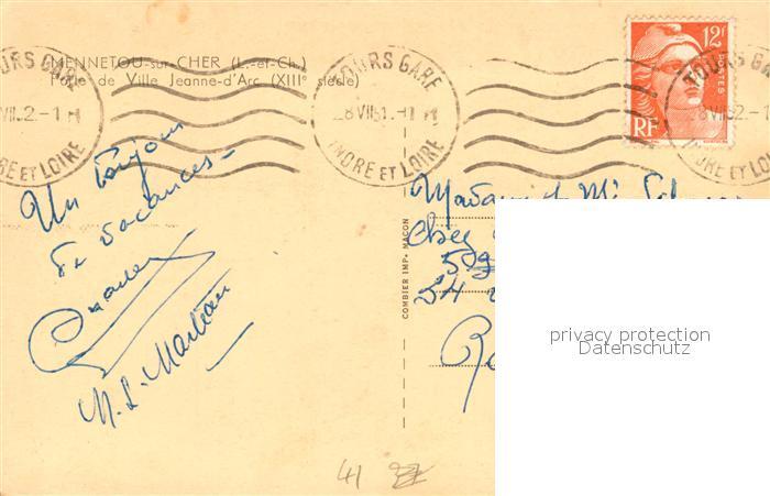 AK / Ansichtskarte Mennetou sur Cher Porte de Ville Jeanne d Arc XIIIe siecle Pont Mennetou sur Cher 1