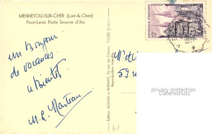 AK / Ansichtskarte Mennetou sur Cher Pont Levis Porte Jeanne d Arc Mennetou sur Cher 1