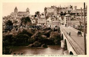 AK / Ansichtskarte Saint Aignan_Loir et Cher Pont sur le Cher et vue generale Saint Aignan Loir et Cher