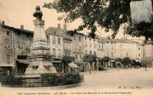 AK / Ansichtskarte Lamastre Place du Marche et Monument Seignolos Lamastre
