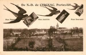 AK / Ansichtskarte Calmont_Aveyron Souvenir de Notre Dame de Ceignac Briefschwalben Calmont Aveyron