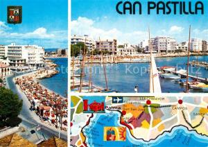 AK / Ansichtskarte Can_Pastilla_Palma_de_Mallorca Hafen Uferstrasse Landkarte Can_Pastilla