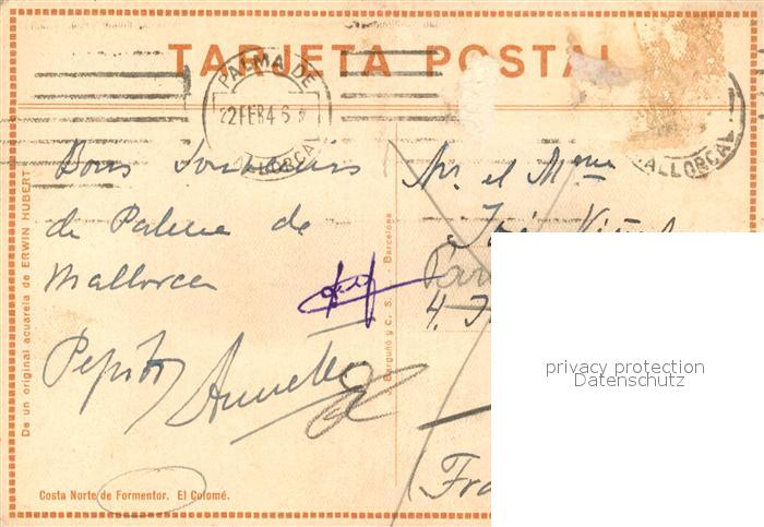 AK / Ansichtskarte Formentor Costa Norte El Colome Acuarela de Erwin Hubert Kuenstlerkarte Formentor 1