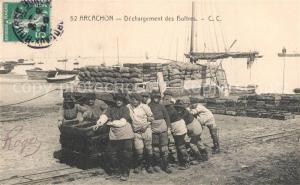 AK / Ansichtskarte Arcachon_Gironde Dechargement des Huitres Arcachon Gironde