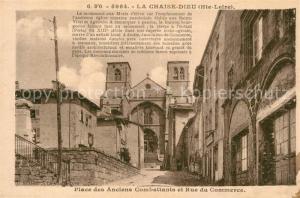 AK / Ansichtskarte La_Chaise Dieu Place des anciens Combattants et Rue du Commerce Eglise La_Chaise Dieu