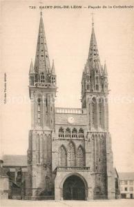AK / Ansichtskarte Saint Pol de Leon Facade de la Cathedrale Saint Pol de Leon