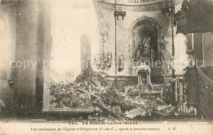 AK / Ansichtskarte Hebuterne Eglise Kriegszerstoerung Hebuterne