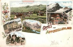 AK / Ansichtskarte Appenzell_IR Panorama Saentis Wirtschaft zum Wildkirchlein Seealpsee Rathhaus Hotel Knecht Appenzell IR