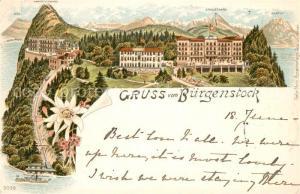 AK / Ansichtskarte Buergenstock_Vierwaldstaettersee mit Rigi Hammetschwang Stanserhorn Pilatus Buergenstock