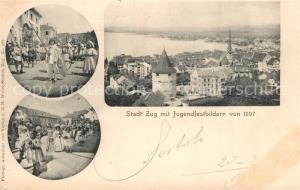 AK / Ansichtskarte Zug_ZG Stadt mit Jugendfestbildern von 1897 Zug_ZG